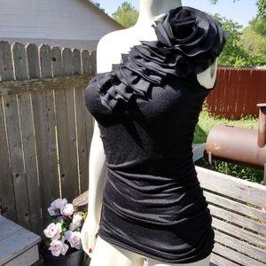 Forever 21/ black flower top, S